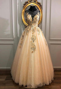 Champagne lace sequins prom dress formal gown
