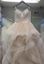 A line tulle beads long prom gown evening dress