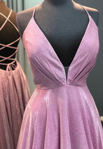 Pink v neck long prom dress pink evening dress