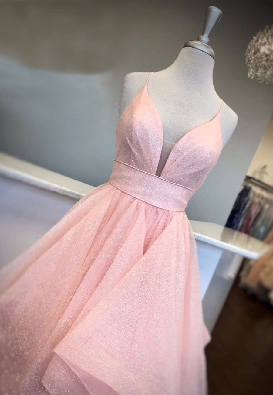 Pink v neck tulle sequins prom dress formal dress