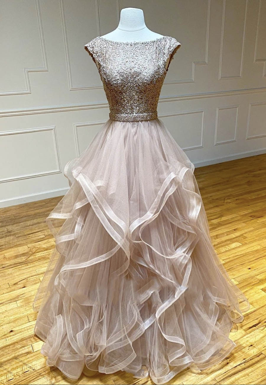High quality tulle lace prom gown evening dress