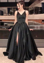 Black satin long prom dress black evening dress