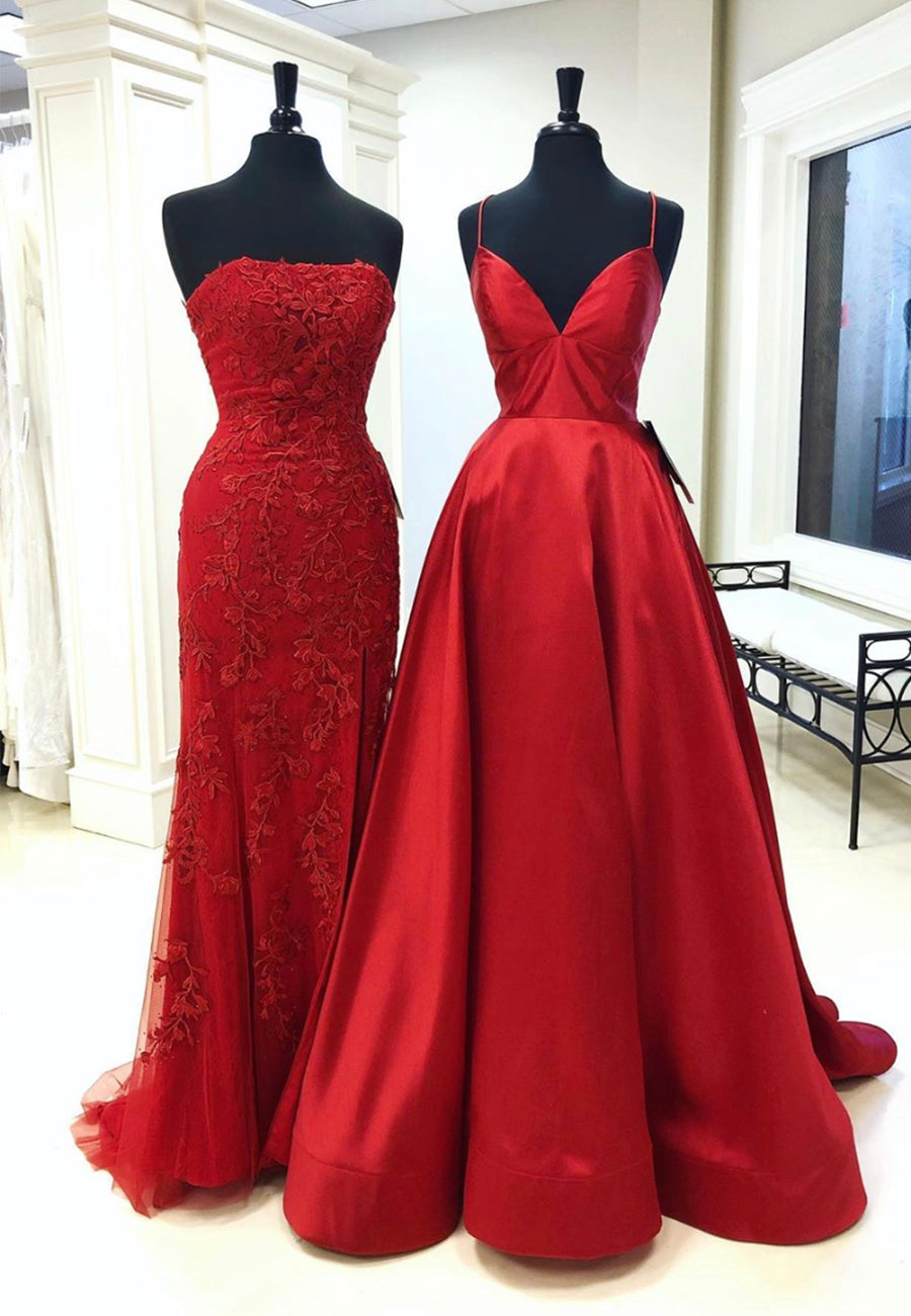 Burgundy long prom dress evening dress