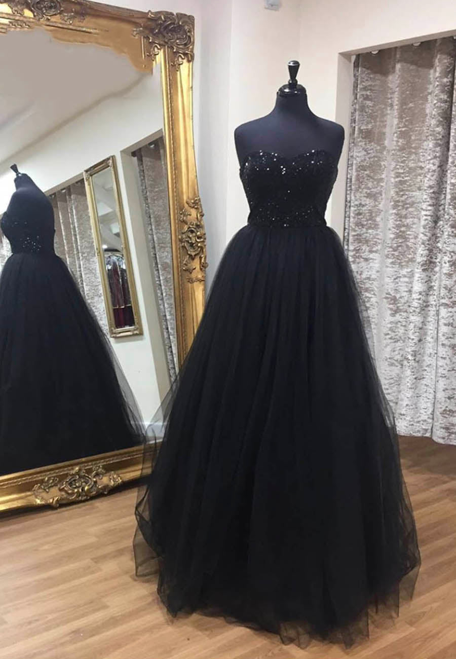 Black tulle sequins long prom dress formal dress