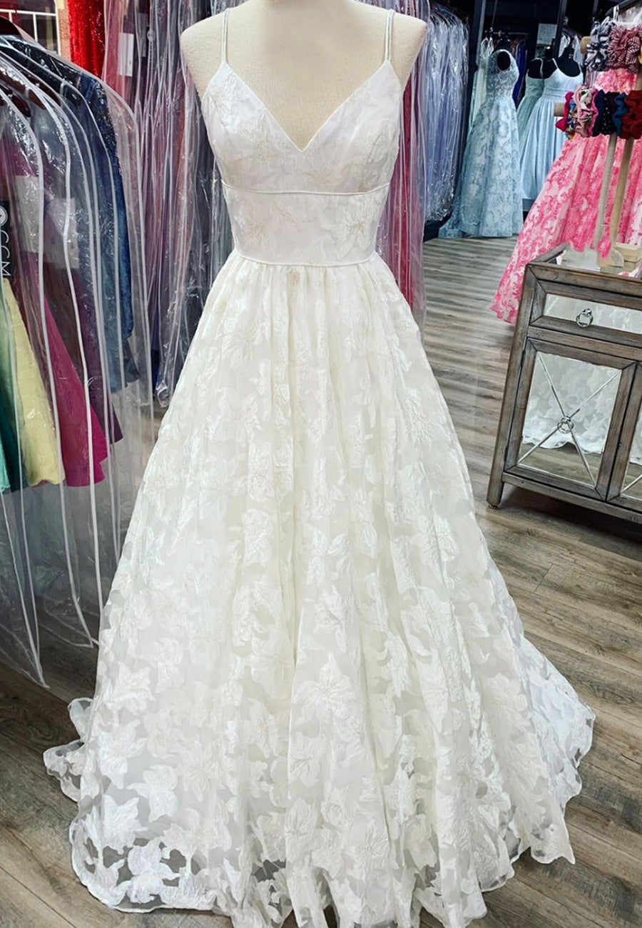 White v neck lace long prom dress formal dress