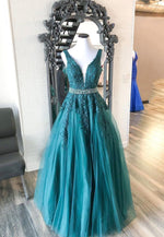 Green v neck lace long prom dress evening dress