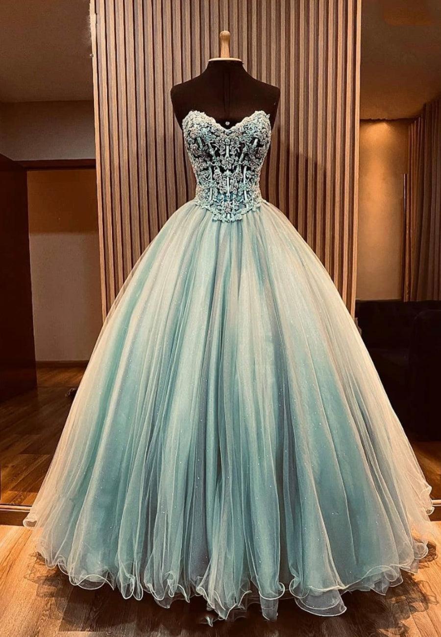 Amazing tulle lace long ball gown dress formal dress
