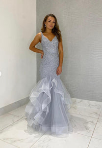 Gray tulle beads long prom dress mermaid evening dress
