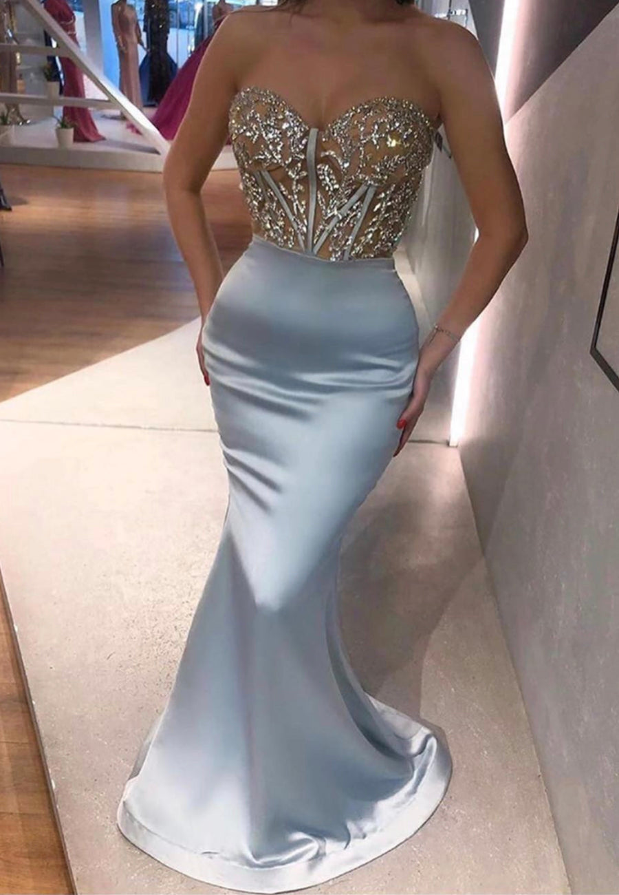 Silver satin long prom dress mermaid evening dress