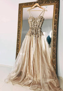 Gold tulle sequins long prom dress evening dress