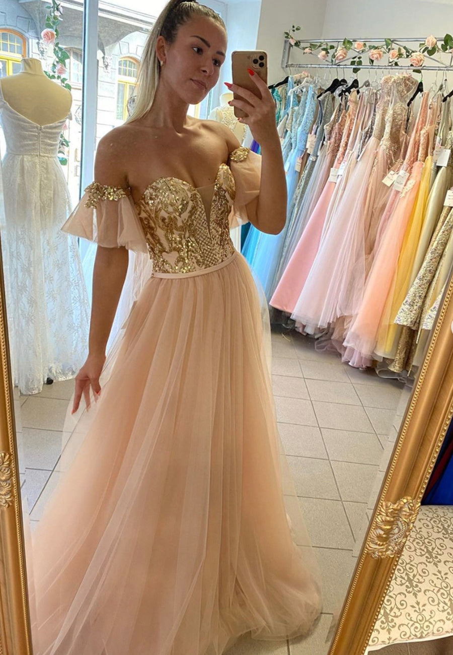 Stylish tulle sequins long prom dress evening dress