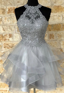 Grey tulle lace short prom dress lace evening dress