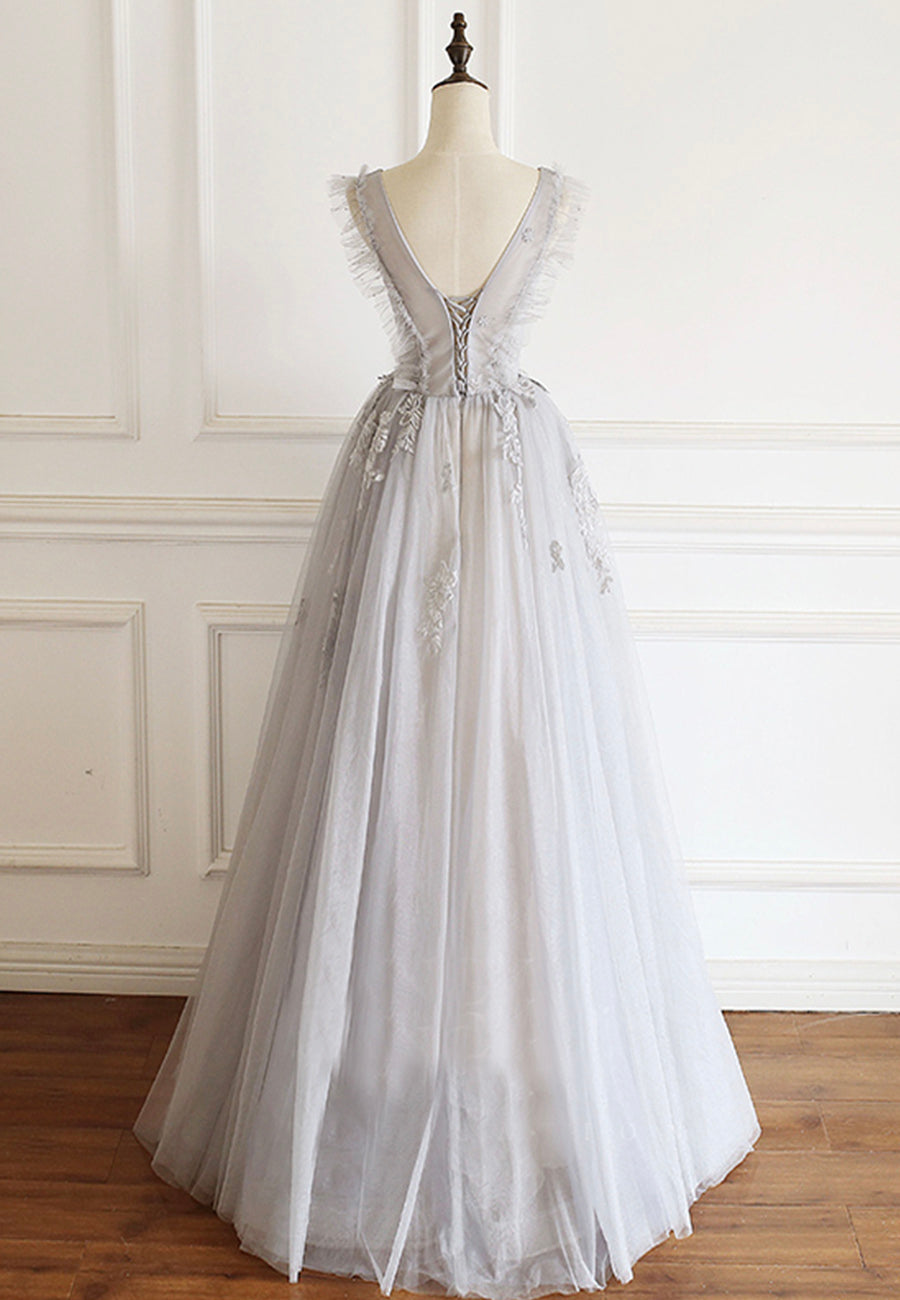 Gray v neck tulle lace prom gown evening dress