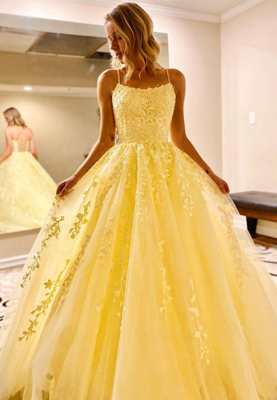 Yellow tulle lace long prom gown evening dress