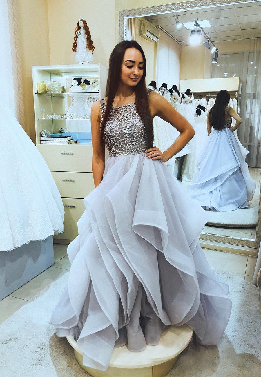 Gray tulle beads long prom dress formal gown