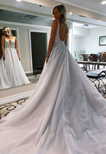 Gray v neck lace beads long a line prom gown