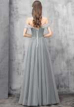 Elegant tulle beads long prom dress evening dress