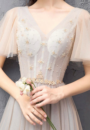 Champagne tulle beads long prom dress evening dress