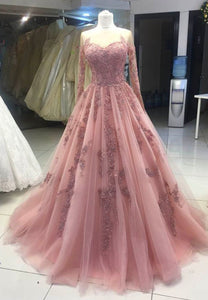 Pink tulle lace prom dress pink evening dress