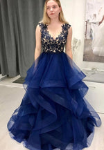 Dark blue lace tulle prom gown formal dress