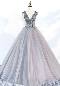 Gray v neck tulle beads prom gown evening dress