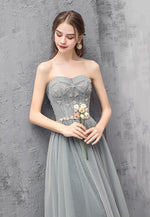 Cute tulle beads long prom dress evening dress