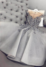 Gray tulle appliqué short prom dress party dress
