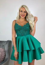 Green lace short prom dress homecoming dress