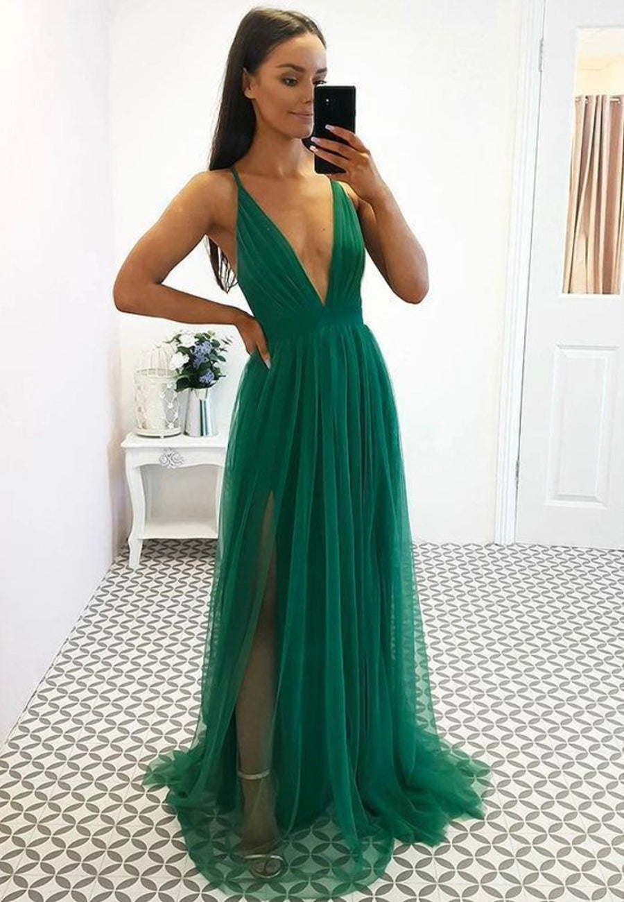 Green v neck tulle long prom dress simple evening dress