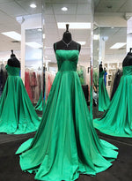 Green satin A line prom dress green evening dress
