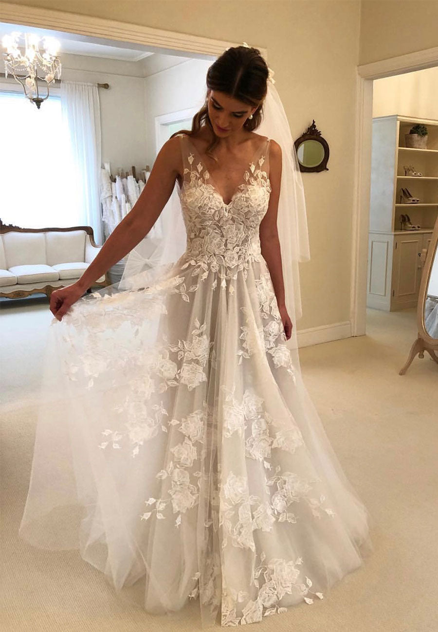 White v neck prom dress, lace wedding dress