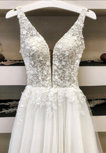 White tulle lace long prom gown formal dress