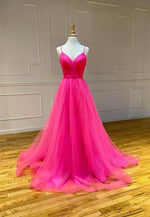 Simple v neck tulle long prom dress party dress