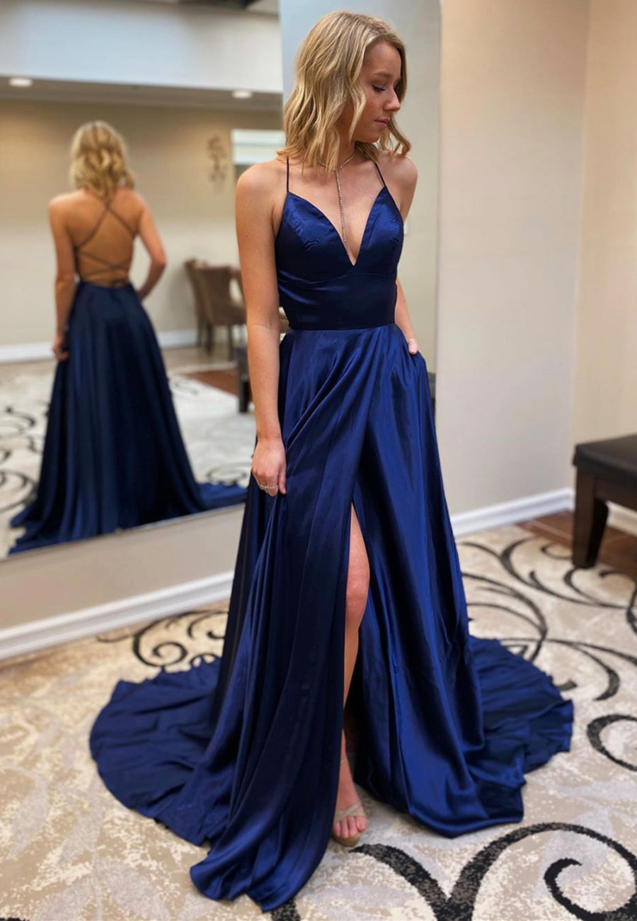 Dark blue satin long prom dress formal dress