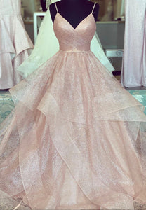 Pink tulle sequins long prom gown evening dress