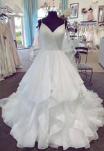White v neck tulle long prom gown evening dress