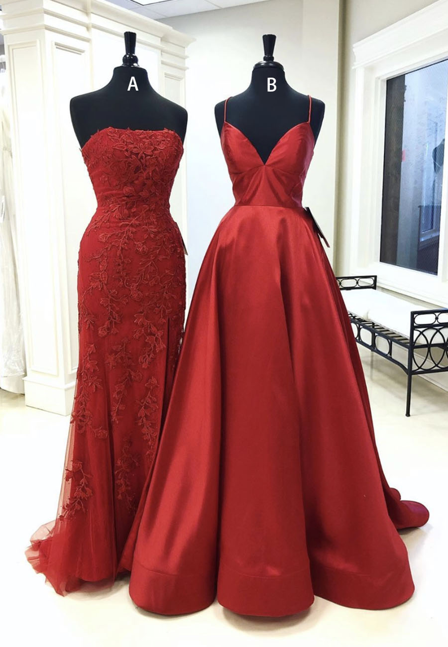 Burgundy long prom dress burgundy evening dress