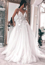 White v neck tulle beads prom dress formal dress