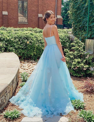 Blue tulle long A line prom dress evening dress