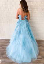 Blue lace tulle long prom dress party dress