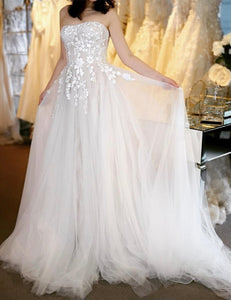 A line strapless tulle lace long ball gown dress
