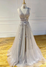 Gray tulle lace long prom dress evening dress