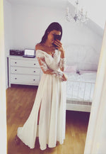 White lace prom dress long sleeve evening dress