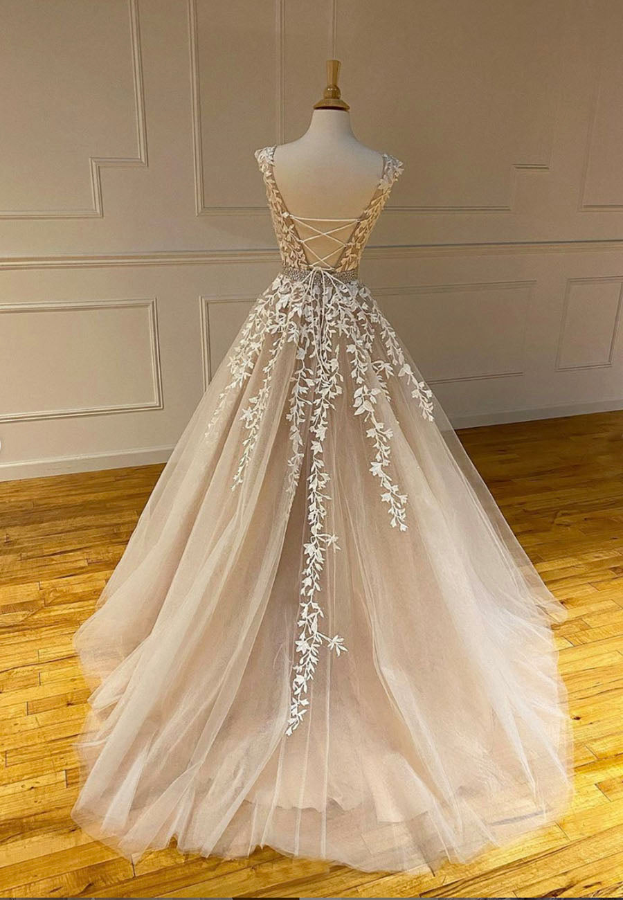 A line tulle lace long prom gown, formal gown