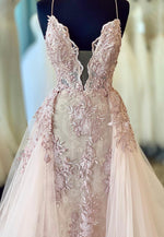 Pink v neck lace tulle prom gown formal dress