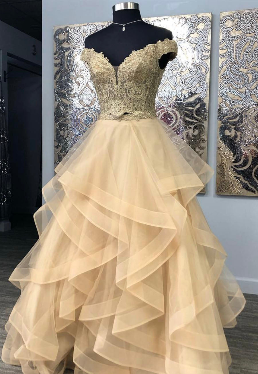 Two pieces lace long prom dress formal dress