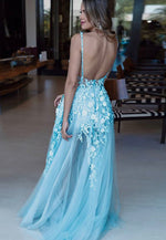 Sky blue tulle lace long prom dress evening dress