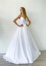 White satin prom dress simple evening dress