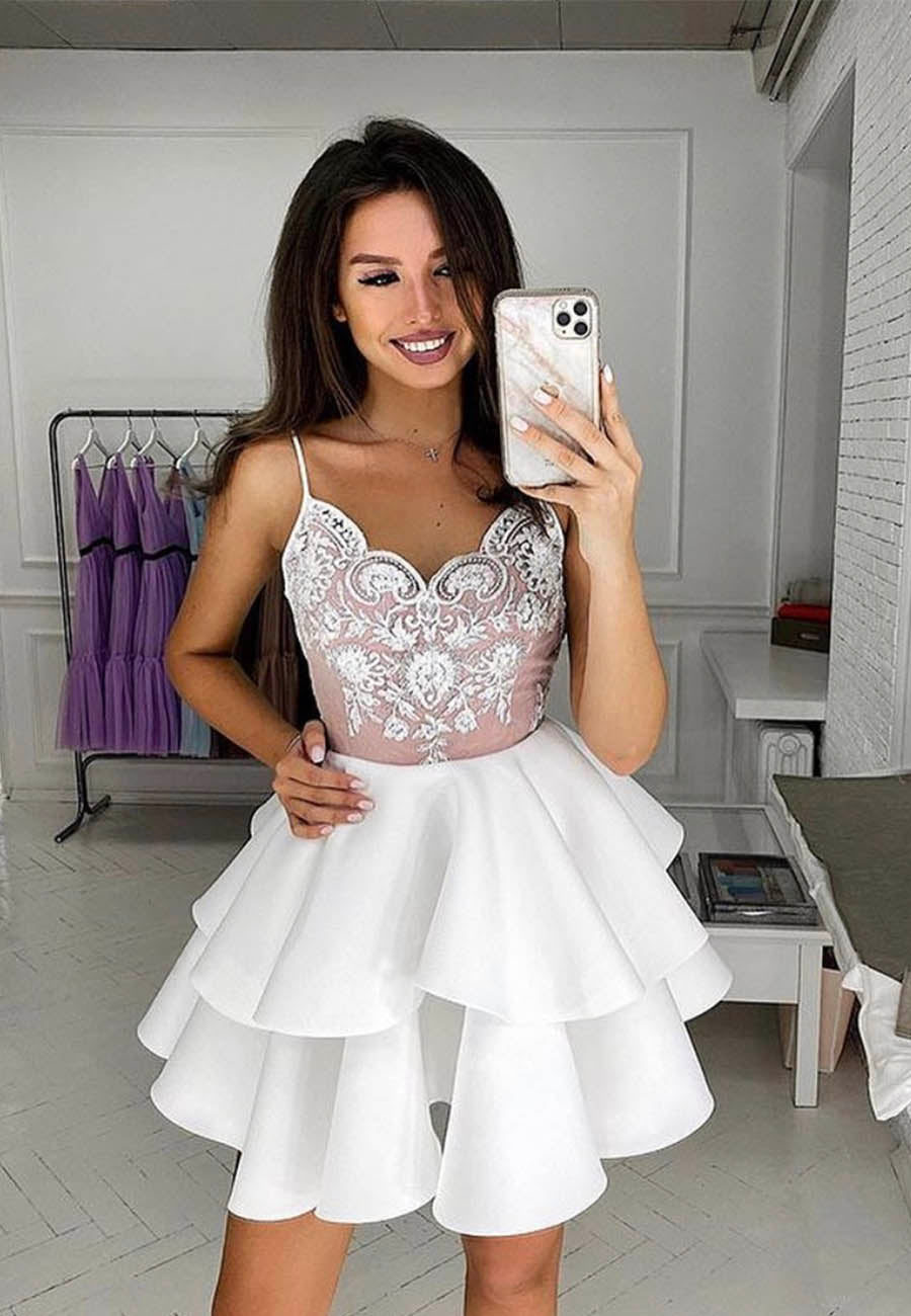 White lace short prom dress homecoming dress