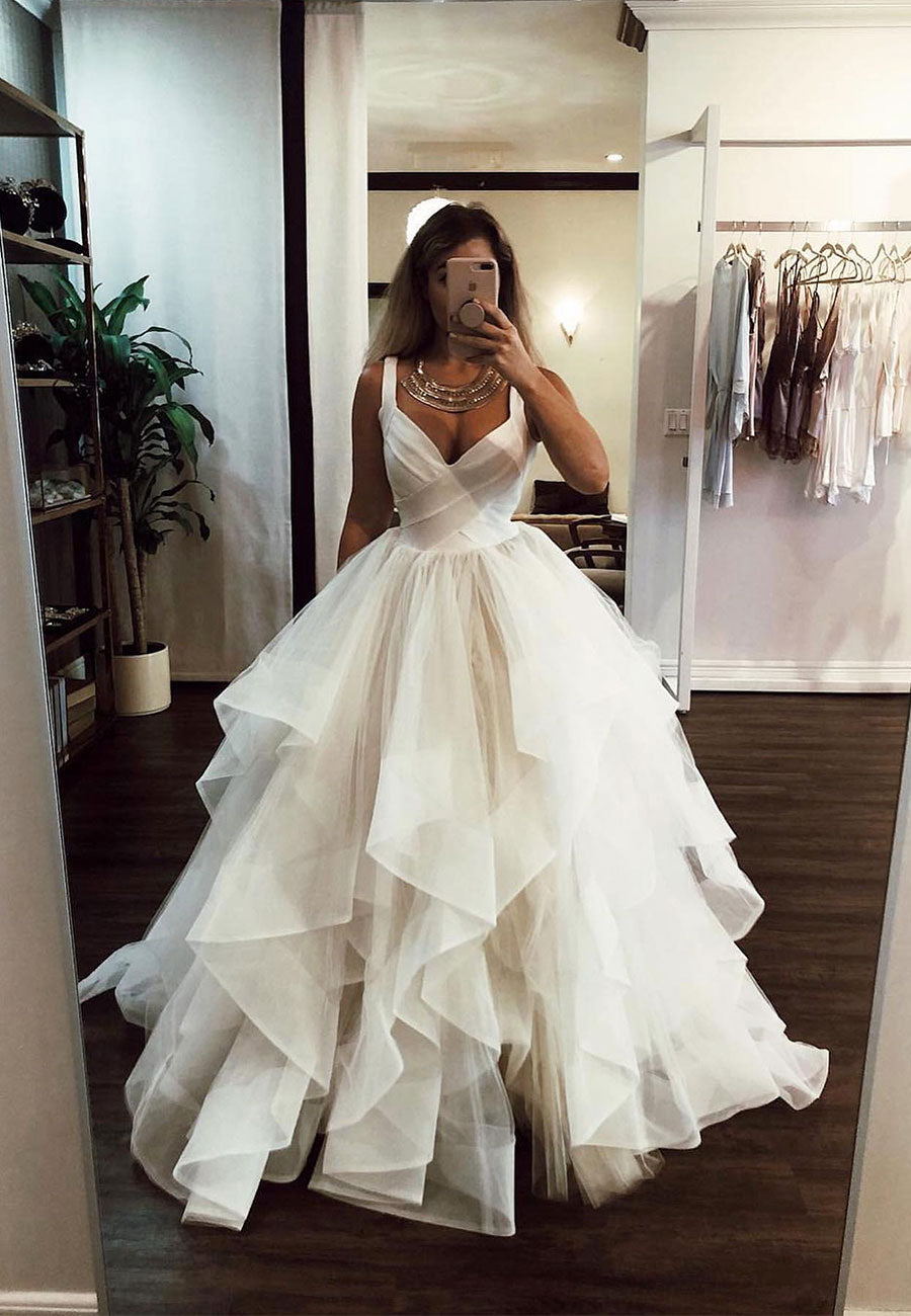 Ivory puffy tulle prom dress, evening dress